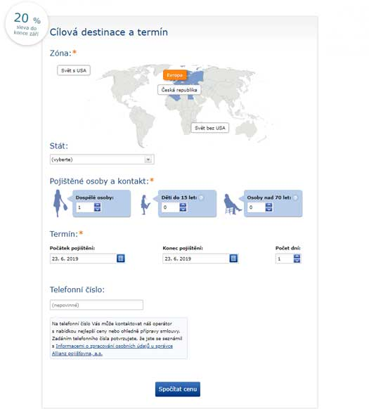 Ukázka online formuláře z webu Allianz