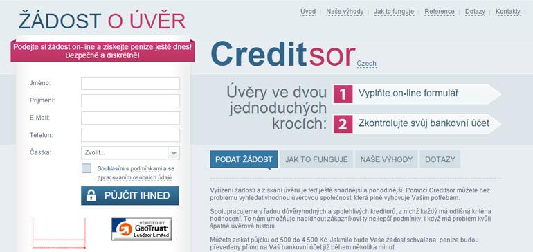 Recenze půjčky Creditsor.